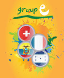 World cup group e. On yellow background Stock Image