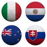 World Cup Group F. Soccer balls with flags. South Africa World Cup 2010 Group F Royalty Free Stock Photos