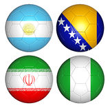 World cup 2014 group F. Brazil world cup 2014 group F flags on soccer balls Stock Illustration