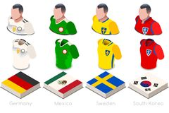 World Cup Group F Jersey Set. Soccer world cup a group f of players with team shirts flags and ball. referee football vector illustration Royalty Free Stock Image