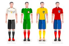 World Cup Group F Jerseys Kit. Soccer world cup a group of players with team shirts flags and ball. referee football vector illustration Stock Photos