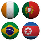 World Cup Group G. Soccer balls with flags. South Africa World Cup 2010 Group G Royalty Free Stock Image