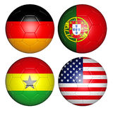 World cup 2014 group G. Brazil world cup 2014 group G flags on soccer balls Vector Illustration