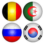 World cup 2014 group H. Brazil world cup 2014 group H flags on soccer balls Royalty Free Stock Images