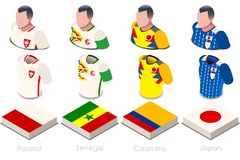 World Cup Group H Jersey Set. Soccer world cup a group h of players with team shirts flags and ball. referee football vector illustration Royalty Free Stock Image