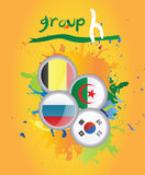 World cup group h. On yellow background Stock Image