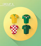 World cup group a  with jerseys Royalty Free Stock Image