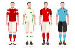 World Cup Group A Jerseys Kit. Soccer world cup a group of players with team shirts flags and ball. referee football vector illustration Stock Photography