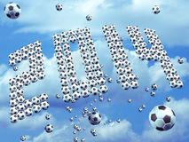 World cup 2014. Group of soccer ball form the year 2014 on blue sky, this is an illustration specially design for World cup 2014 Royalty Free Illustration