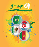 World cup group a. On yellow background Stock Image