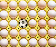 Football in the egg tray stock images
