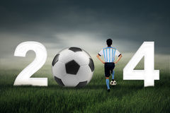 World cup 2014 with a man Stock Photography