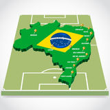 World soccer map 2014. With city of brazil Stock Photography