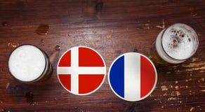 World Cup 2018 Match Calendar, Beer Mats Concept Flyer Background. Denmark VS. France. stock images
