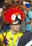 World cup 2018. Moscow FIFA 2018. Emotions of football fans on Moscow streets. A man wearing hat looking as parrot. stock image