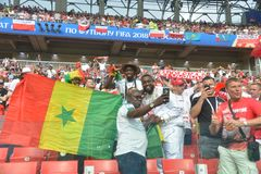 WORLD CUP. MOSCOW, RUSSIA - June 19, 2018: Senegal celebrates after scoring a goal during the World Cup Group H game between Poland and Senegal at Spartak Royalty Free Stock Photo