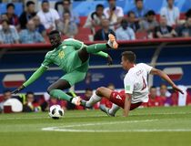 WORLD CUP. MOSCOW, RUSSIA - June 19, 2018: Senegal celebrates after scoring a goal during the World Cup Group H game between Poland and Senegal at Spartak Stock Photo