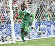 WORLD CUP 2018. MOSCOW, RUSSIA - June 19, 2018: Senegal celebrates after scoring a goal during the World Cup Group H game between Poland and Senegal at Spartak Royalty Free Stock Photos