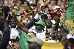 WORLD CUP 2018. MOSCOW, RUSSIA - June 19, 2018: Senegal celebrates after scoring a goal during the World Cup Group H game between Poland and Senegal at Spartak Stock Photos