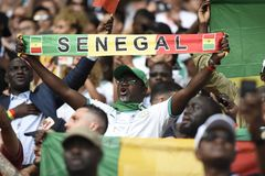 WORLD CUP 2018. MOSCOW, RUSSIA - June 19, 2018: Senegal celebrates after scoring a goal during the World Cup Group H game between Poland and Senegal at Spartak Royalty Free Stock Photo