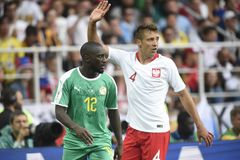 WORLD CUP 2018. MOSCOW, RUSSIA - June 19, 2018: Senegal celebrates after scoring a goal during the World Cup Group H game between Poland and Senegal at Spartak Stock Image