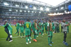 WORLD CUP 2018. MOSCOW, RUSSIA - June 19, 2018: Senegal celebrates after scoring a goal during the World Cup Group H game between Poland and Senegal at Spartak Stock Images