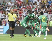 WORLD CUP 2018. MOSCOW, RUSSIA - June 19, 2018: Senegal celebrates after scoring a goal during the World Cup Group H game between Poland and Senegal at Spartak Stock Photo