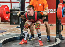 The 2014 world Cup powerlifting AWPC in Moscow. Moscow, Russia - August 22, 2014: Unidentified athlete in action during the 2014 world Cup powerlifting event in Royalty Free Stock Photo