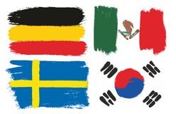 World Cup Russia 2018. Group F Flags Vector Hand Painted with Rounded Brush. This image is a vector illustration and can be scaled to any size without loss of Royalty Free Stock Photos
