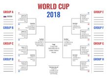 World cup 2018 in Russia, group stage and road to final, tournament scheme with game schedule. World cup 2018 table and scheme, game schedule, group stage and Royalty Free Stock Photography