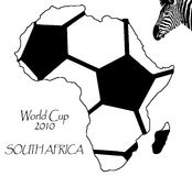 World cup soccer 2010. Illustration of map of South Africa, showing a soccer ball. World cup soccer 2010 royalty free illustration