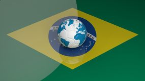 World cup. Soccer ball with world map on Brazilian flag Stock Photography