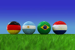 World cup soccer ball. National flag of Four Teams Qualified for Semi Finals of World Cup  2014 Royalty Free Illustration