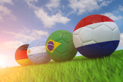 World cup soccer ball. National flag of Four Teams Qualified for Semi Finals of World Cup  2014 Royalty Free Stock Photos