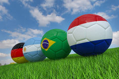 World cup soccer ball. National flag of Four Teams Qualified for Semi Finals of World Cup  2014 Royalty Free Stock Images