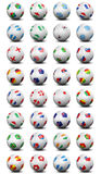 World Cup soccer balls. Soccer balls with the flags of the 32 countries teams qualified for the 2010 South Africa World Cup vector illustration