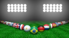 World cup. Soccer balls with various countries flags on grass Stock Photo