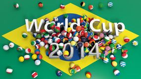 World cup. Soccer balls with various flags and World Cup 2014 3D text on Brazilian flag Stock Images
