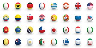 World cup. Soccer balls with various flags isolated on white Royalty Free Stock Photos