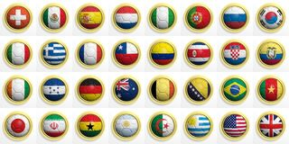 World cup. Soccer balls with various flags isolated on white Stock Image