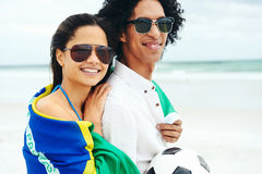 World cup soccer couple Royalty Free Stock Photos