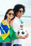 World cup soccer couple Stock Photos