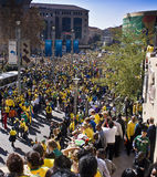 World Cup Soccer Fever Grips Sandton. Hordes of spectators line the streets in Sandton, in a glorious show of support for the South African National Team Royalty Free Stock Photo