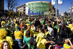 World Cup Soccer Fever Grips Sandton. Football frenzy at Bafana celebration Royalty Free Stock Photography