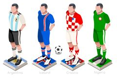 World Cup Soccer Group Vector. Soccer world cup a group of players with team shirts flags and ball. Isometric football vector illustration Stock Photo