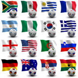 World Cup Soccer - South Africa 2010. XXXL 3D render of Groups A to D participating in the World Cup 2010 tournament to be held in South Africa. Flag and ball Stock Photos
