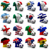 World Cup Soccer - South Africa 2010. XXXL 3D render of Groups A to D participating in the World Cup 2010 tournament to be held in South Africa. Athletic torso stock illustration