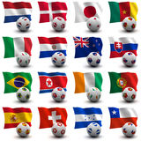 World Cup Soccer - South Africa 2010. XXXL 3D render of Groups E to H participating in the World Cup 2010 tournament to be held in South Africa. Flag and ball Royalty Free Stock Photography