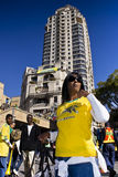 World Cup Soccer Supporter in Sandton. Football frenzy at Bafana celebration Royalty Free Stock Photography