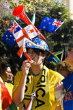 World Cup Soccer Supporter Wearing Makaraba Stock Photography